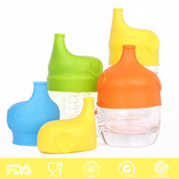 Wholesale Elephant shape Anti overflow SipSnap sippy silicone sippy cup lid baby sippy cups no leak for baby pacifier bowl cover freeship