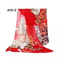 Wholesale Chiffon printed Silk scarf neckerchief handkerchief Beach scarf chinese style flower picture different color
