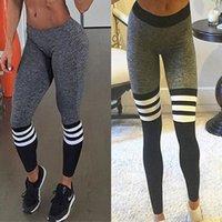 Wholesale 6 COLORS ladies fashion sport stretchable striped leggings sports outwear fitness gym yoga sport legging women instagram girl skinny pants