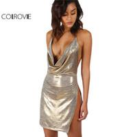 b63e31ac24 COLROVIE Metallic Plunge Cowl Party Dress Gold Sexy Slit Backless Women  Summer Dresses 2017 Mini Bodycon Draped Slim Club Dress