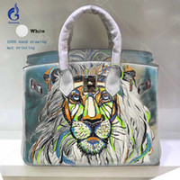5df238b920 Classic Big Designer Bags for Women 2018 Cow Leather Crossbody Shoulder Bag  Hand Painted Art Lion Casual Tote Larger Ladies Handbags Blue
