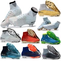 Wholesale mercurial superfly - 2017 High Quality Mercurial Superfly V FG Champions CR7 Ronaldo Kids Youth Football Shoes Magista Obra Soccer Cleats Men Soccer Shoes