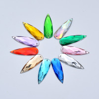 JUNAO 10 30mm Sewing Crystal AB Drop Rhinestones Appliques Flatback Acrylic  Gems Sew On Clear Strass Crystals Stones for Clothes Crafts 4b259aa1da3a