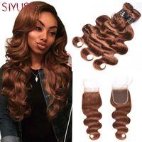 Wholesale Light Auburn Brown Brazilian Hair Body Wave Bundles With Closure A Grade Unprocessed Virgin Brazilian Human Hair Weave With Closure