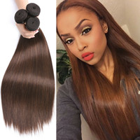 Wholesale Unprocessed brazilian Human Hair Bundles brown color silk straight hair wefts Medium and long hair Extensions MOQ