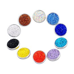 JACK88 20pcs lot Mix Colors Rhinestone 20mm Full Rhinestone Snap Button Charm Ginger Snap Jewelry for Snap Charm Bracelet N846