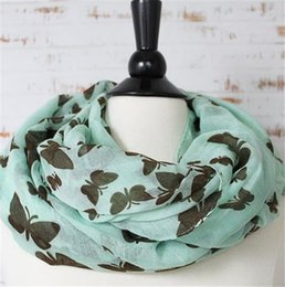 Butterflies Print Infinity Scarves Fashion Women Loop Scarf Spring Autumn Voile Scarf Girls Best Gift AF640