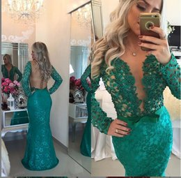 Latest Green V Neck Mermaid Prom Dresses 2016 Lace Appliqued Formal Evening Party Gowns Beaded Top Long Sleeves Illusion vestidos formatura