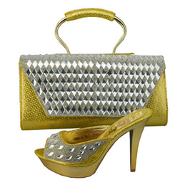 High class style shoes matching bags series C1308-34-1 gold, Fashion lady shoes and handbag sets for party