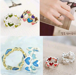 Wholesale-JZ055 2015 new fashion Colorful sweet love hearts and more connected to the ring Jewelry Wholesale