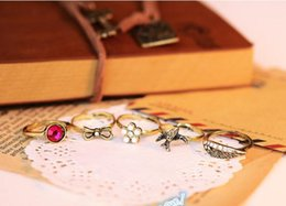 Wholesale 5PCS Set New Vintage Antique gold pearl rhinestone bird flower bow Above Knuckle finger Ring Band Midi Rings for Women Party Accessories
