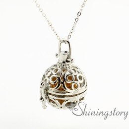 round openwork aromatherapy necklace diffuser lockets wholesale jewelry scents diffuser pendant necklaces metal volcanic stone aromatherapy