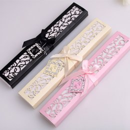 Wholesale Luxurious Silk Fold hand Fan in Elegant Laser Cut Gift Box Black Ivory Party Favors wedding Gifts