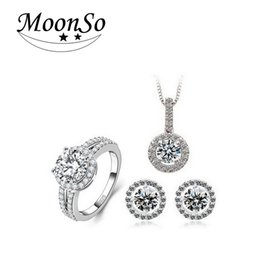 Wholesale-Solove CZ Diamond Wedding Engagement Bridal Real Sterling Silver 925 Genuine Simulated Jewelry Sets for women LJ1512S