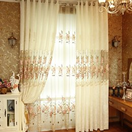 Wholesale Beige Modern Fashion Sheer Embroidered Curtains for Kitchen Living Room Window Bedroom Customized Size Blackout Curtains PD007