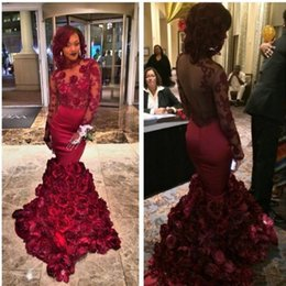 2017 Luxury Red Mermaid Evening Dress With Rose Floral Ruffles Sheer Prom Gown With Applique Long Sleeve Prom Dresses Sweep Train Custom