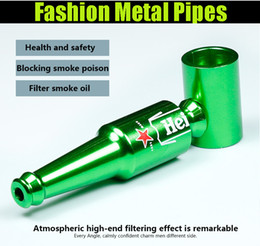 Wholesale Metal Filter Pipe Smoking Pipes Beer Bottle Shape Pipes Aluminum Smoking Accessories Metal Filter Pipes mm Portable Mini Pipes