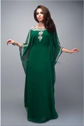 Wholesale Chic Emerald Green Arabic Abayas Kaftan New Plus Size Sleeves Beads Sequins Chiffon Bateau Maxi Turkey Muslim Prom Evening Dresses