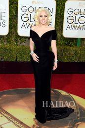 73rd Golden Globe Awards 2016 Celebrity Dresses Lady Gaga Short Sleeve Black Velvet Mermaid Off Shoulder Evening Gowns