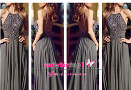 Real Photos New Arrival Vintage Formal Evening Dresses A-Line Sexy Halter Crystal Sequin Chiffon Backless Empire Long Prom Gowns BO4945