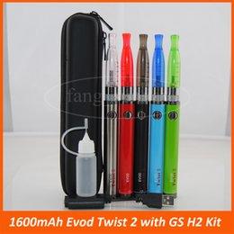 Métal cas ecig à vendre-Haute qualité ecig 1600mAh Evod Twist 2 kits glissière étui GS-H2 Kit eCigarette 3.3v-4.8v