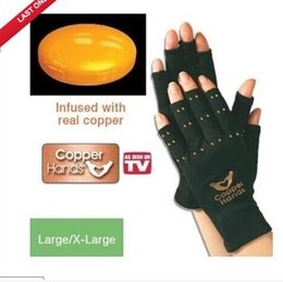 Wholesale Elastic Arthritis Gloves Copper Hands Ache Pain Rheumatoid THERAPY Health Care Glove For physiotherapy Burns rehabilitation