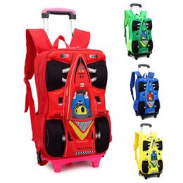 Children Trolley School Bag Children's Cartoon Car Stereo Rod Rolling Suitcase Luggage Bag Kids Car 3D School Bags Backpacks Women Schoolbag