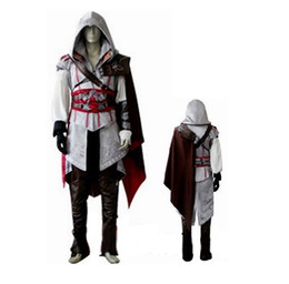 Wholesale EMS DHL Adult Men s boy male high quality assassins creed II Ezio costume cosplay Uniform Suit Halloween party Anime clothes
