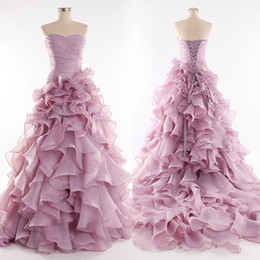 Real Pink Wedding Dresses 2015 Sweetheart Ruffles Lace Up Fashion Sweep Train Church Bridal Gowns Custom made
