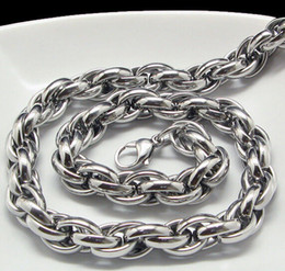 New Middle Eastern Style Silver Pure 316L Stainless steel Silver Twist Oval Rope Chain Link Necklace in Men Jewelry 9mm 20''-28''