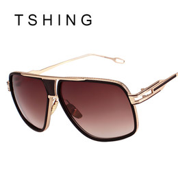2017 or gros cadres lunettes Gros-New Fashion Square Sunglasses Men Luxury Designer Brand Gold Frame Métal UV400 femmes Lunettes de soleil Homme de haute qualité Oculos De sol or gros cadres lunettes sortie