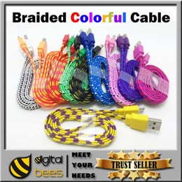Wholesale v8 Micro USB Braided Cable Colorful Noodle Charging copper Wire M ft m ft Nylon flat Woven For Galaxy s4