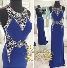 Gorgeous Royal Blue Evening Formal Dresses Sheer Prom Party Gowns 2016 Occasion Dress Mermaid Jewel Rhinestones Sweep Train Arabic Celebrity