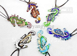 Wholesale Baroque pc Colorful Fashion Handmade Italian Gold dust sea horse Bead Lampwork murano glass pendant necklace jewelry