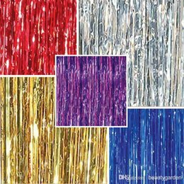 Wholesale 1m m Tinsel Curtain Pub House Portiere Door Curtain Wedding Party Backdrop Stage Background Hanging Stripes wd504L3M