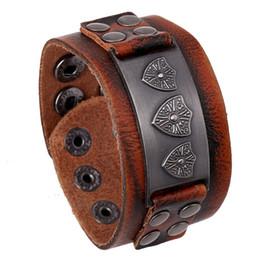 Fashion Charm Bracelets Handmade Retro Brand Charm For Men Button Infinity Wide Brown Leather Bracelets & Bangle Jewelry