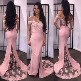 Pink Off Shoulder Cheap Evening Dress Lace Mermaid Long Party Gown Sexy Backless 2016 Prom Gowns For Women
