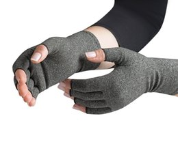 Wholesale Breathable rehealthy training gloves cotton and spandex half finger arthritis gloves health care comfortable infused therapy gloves gray