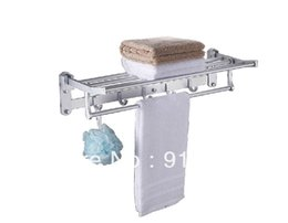 Wholesale And Retail Promotion NEW Aluminum Bathroom Wall Mounted Clothes Towel Racks Shelf W Hooks Towel Bar