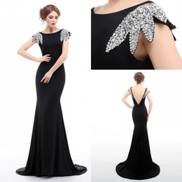100% Real Photo Black Mermaid Prom Dresses With Sequins Capped Sleeves Women Gowns Sweep Train Backless Sexy Party Dresses