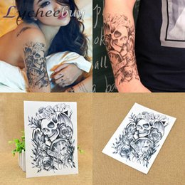 Wholesale Sexy Temporary Tattoo Sheet - Wholesale-1 Sheet New Black Sexy Skull Temporary Tattoo Stickers Removable Waterproof