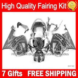 7gifts Silver flames+Bodywork For HONDA VTR1000 RC51 SP1 SP2 00-07 46LC52 VTR1000R RTV1000 2000 2001 2002 2003 07 VTR 1000 Fairing NEW Kit