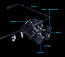 20 times wearing glasses type 9892A magnifier with LED lights magnifying glass jade jewelry, watches dedicated instrument repair 60pcs a bag