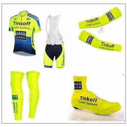 Wholesale hot Tinkoff Saxo Cycling Jersey Set Short Sleeve Bib Padded Pants Cycling Clothing With Bib Set Arm Leg Shoes Cover Fluo Yellow Sui