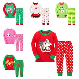 Wholesale Cotton Long Sleeve Girls Boys Kids Clothing Sets Suits Pajama Piece Sleepwear Fashion Father Christmas Snow Sleepwear for T sets