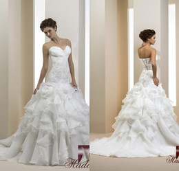Gorgeous A Line Sweetheart Chapel Train Ivory Tiered Organza Appliques Wedding Dresses Lace Up Popular wedding Gowns 2015