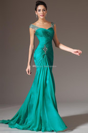 Wholesale 2015 Best Selling Mermaid V neck Floor Length Turquoise Chiffon Cap Sleeve Prom Dresses Beaded Pleats Discount Prom Gowns Dress for Evening