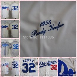 Wholesale 30 Teams New Sandy Koufax Jersey Cream white grey cheap Dodgers New arrival sttiched name Sandy Koufax Jersey Display