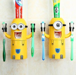 Wholesale Bathroom Set Toothbrush Holder Cute Despicable Me Minions Toothpaste Squeezer Bathroom Products Automatic Toothpaste Dispenser Free DHL