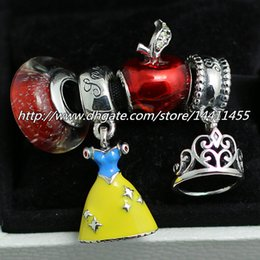 Wholesale Diy Sterling Silver Charms and Murano Glass Bead Set Fits European Pandora Jewelry Charm Bracelets Snow White s Apple Sets